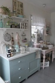shabby chic kitchen decor cottage kitchens accessories designs country pastel shelf wall cabinet painted unit awesome decorating curtains pink estilo