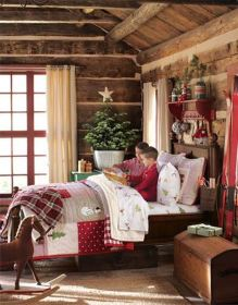 bedroom christmas cabin cozy decor rustic rooms mountain bedrooms holiday themed boys decoration log fun bedding creative decorated decorations childrens