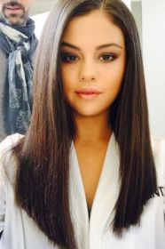 straight long haircut gomez selena hair hairstyles side layers haircuts parted