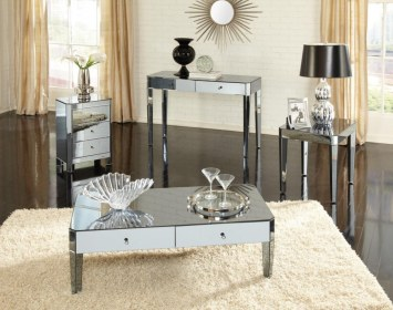 mirrored furniture living mirror table interior accent rooms bedroom glamorous round side sets parisian modern drawer furnishings tables glam smoked