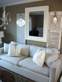 living wall decor decorating rustic shutters mirrors chic frames couch behind mirror idea rooms designs distressed shutter barnwood mismatched decoration