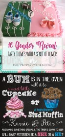 reveal gender party themes baby humorous theme humor halfpintpartydesign sense parties shower cakes revel decorations invitations read