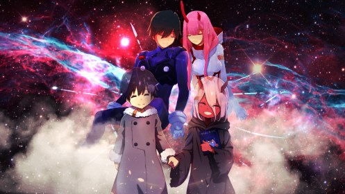 darling in the franxx zero two hiro with background of