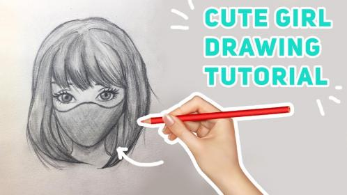 mask wearing drawing draw easy pencil way