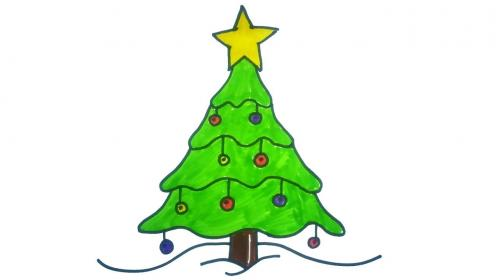 tree christmas draw drawing easy drawings trees simple cute xmas spruce decorations pine very line decoration diy children paper tutorial