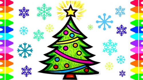 christmas tree coloring easy pages draw holiday