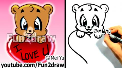 How to Draw a Bear with a Valentine's Heart Cute Art