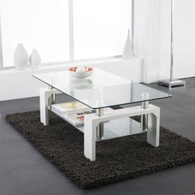 glass coffee table living chrome rectangle shelf modern lower tables furniture oval clear