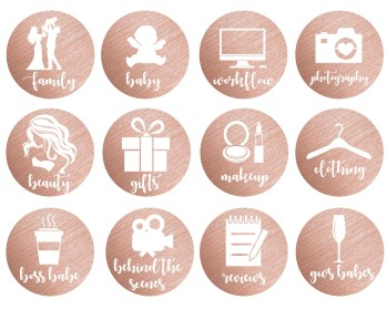 instagram icons highlights story rose gold etsy custom text