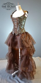 steampunk skirt copper corset gothic low ruffle fantasy layered dressing jupe cosplay petite bride bridesmaid angel