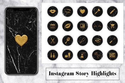 instagram icons highlight makeup gold insta stories artist highlights marble story studio templates thehungryjpeg social cart