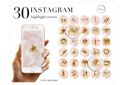 highlight instagram covers watercolor blush icons follow