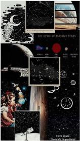 Image result for aesthetic space collage wallpaper laptop