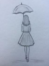 pencil drawing drawings draw umbrella sketches sketch dessin skirt simple step improve wearing dibujos beginners faciles walking holding concentration personnes