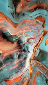 Coral and teal brand color palette marble texture
