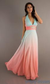 dresses ombre prom bridesmaid gowns pink pretty coral combination evening turquoise beach halter formal pale gown neck pastel aqua betsy