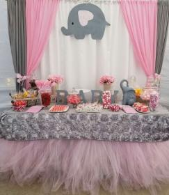 shower elephant theme table candy elefante pink gray showers pieces themes decorations para decoracion babyshower elephants decoraciones cake grey boy