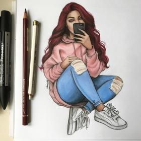 drawings drawing instagram natalia sketches madej sketch outfit nataliamadej von puma sneakers snapchat likes illustrations featuring those had fell zeichnungen