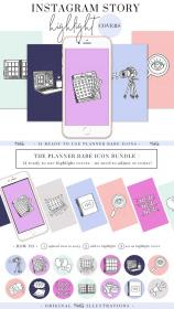ig highlight icons covers template sticker stories highlights social shops planner stickers tools