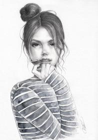 bun messy pencil woman drawing watercolor unique illustration drawings clipart etsy hair buns drawn trendy styles hairstyles awesome would
