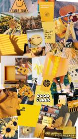 aesthetic collage yellow pastel iphone