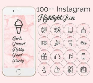 marble pink story highlight icons nails girly simple