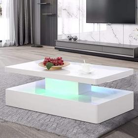 coffee glossy led mecor lighting rectangle dining contemporary gloss tables tier pull rectangular remote control rooms theater