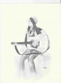 guitar drawing sketch pencil sketches playing drawings