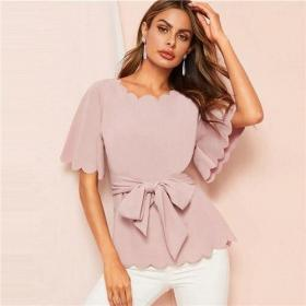 blouses blouse summer office elegant pink nejomisfindings belted scallop flounce trim solid lady sleeve tops work