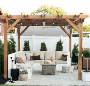 backyard outdoor gazebo diy decorating patio pergola cozy designs seating yard paver roomfortuesday gardens side makeover plans area luvlydecora shed
