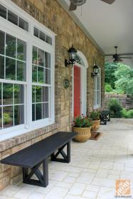 seating porch decorating diy outdoor planters bench door benches wooden decor walls porches flank outside stone homedepot living ext furniture