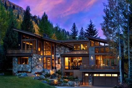 rustic mountain modern colorado mountains homes story houses exterior lake clear three onekindesign siding