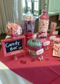 candy shower buffet bar themed table bars theme sweet super tables bridal jars names mistakes purple wrapped idea pink boy