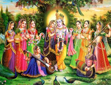krishna radha gopis paintings eight chief lord painting hd prints wallpapers tallengestore landscape portrait canvas wall radhe print oil framed