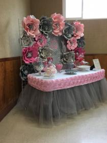 shower pink table candy backdrop paper flower grey decorations decoration babyshower fiesta themes flowers diy elephant showers giant decoracion cake