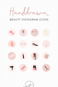 instagram highlight story makeup covers icons beauty sold etsy handdrawn layout salon icon feed artist owner highlights