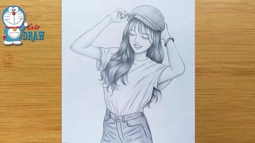 How to draw a smiley face A girl with cap drawing