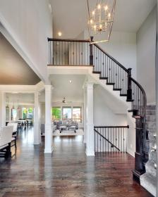 homes floor open story interior plan staircase way entry light curved stairs modern basement decor bickimerhomes colors