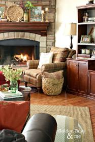 fireplace room corner stone decor living fireplaces fall leather chairs rustic chair furniture rooms goldenboysandme cozy mantel sofas country decorating
