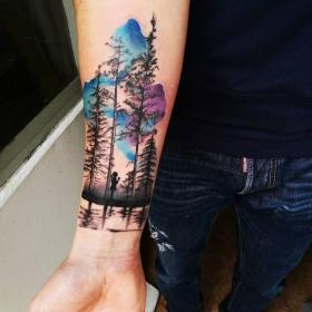 tattoo forest sky watercolor designs tattoos silhouette tattooadore tree creative ideen mountain arm colorful wolf space diy tatoos finger body