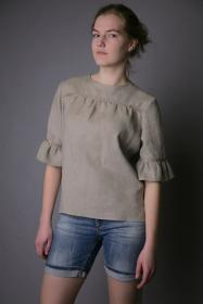linen blouse blouses lino blusa pure woman blusas frill natural fashionable flax tops mujer puro sleeves designs womens ropa elegant