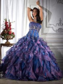 purple dresses quinceanera turquoise ball bridesmaid gown poofy bright colour prom