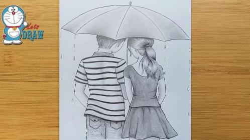 pencil draw umbrella drawings step couple boy sketch drawing sketches simple bff friendship myhobbyclass