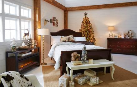 Rest each night in this rustic Christmas inspired bedroom