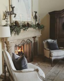 european farmhouse fireplace decor stone decorating christmas cottage fireplaces rustic living rooms uploaded user
