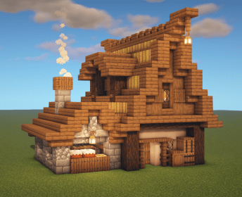 minecraft bakery build tutorial medieval houses architecture botcraft building cottage villa goukko schematics mc perimk casa survival