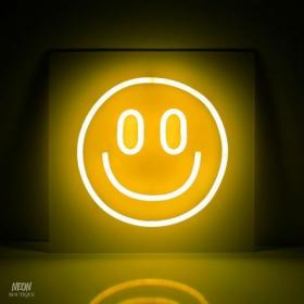 neon yellow aesthetic smiley smile face happy aesthetics lights smileys lighting sign signs orange app mellow kongos band pastel fred