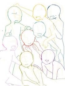 poses anime base drawing friends reference body drawings draw cute squad manga go grupo bases guy amigos рисование pose манги