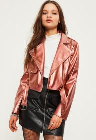 missguided jacket rose leather jackets faux outfits petite perfecto metallic biker zip cuir