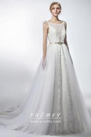overskirt lace tulle gown ivory unique promfy bridal neck